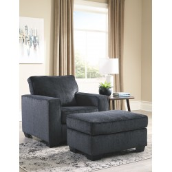 Altari - Slate - Chair with Ottoman