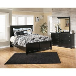 Maribel - Black - 5 Pc. - Dresser, Mirror & Queen Panel Bed
