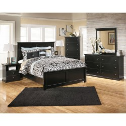 Maribel - Black - 8 Pc. - Dresser, Mirror, Chest, Queen Panel Bed & 2 Nightstands