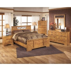 Bittersweet - Light Brown - 8 Pc. - Dresser, Mirror, Chest, Queen Panel Bed & 2 Nightstands