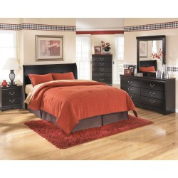 Huey Vineyard - Black - Queen Sleigh Headboard